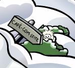 Puffle branco na montanha